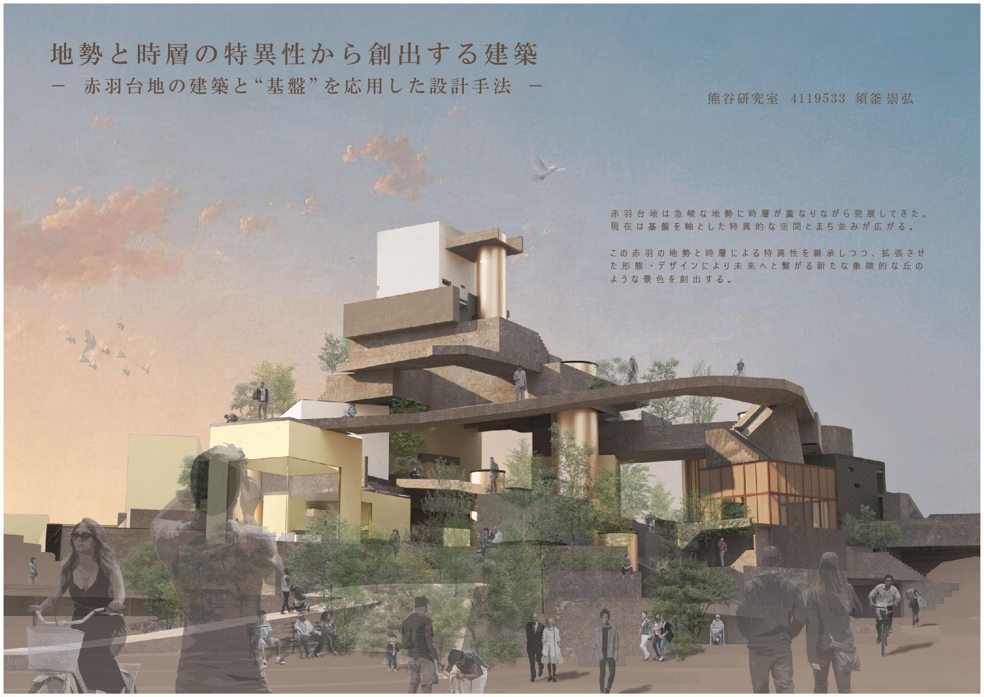 """地勢と時層の特異性から創出する建築 -赤羽台地の建築と""""基盤""""を応用した設計手法--1"""