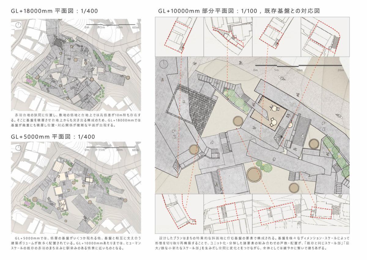"""地勢と時層の特異性から創出する建築 -赤羽台地の建築と""""基盤""""を応用した設計手法--7"""