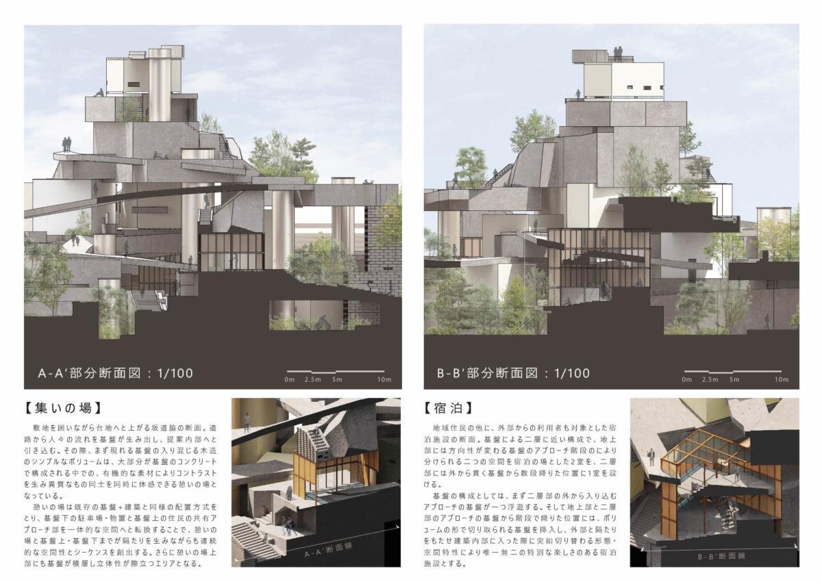 """地勢と時層の特異性から創出する建築 -赤羽台地の建築と""""基盤""""を応用した設計手法--9"""