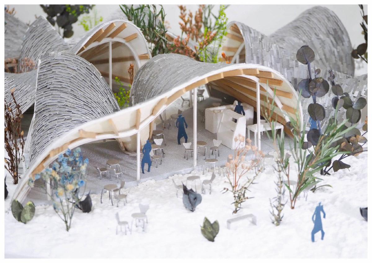 軌跡の洞窟 -ねじれた線織面による曲面建築の提案--11