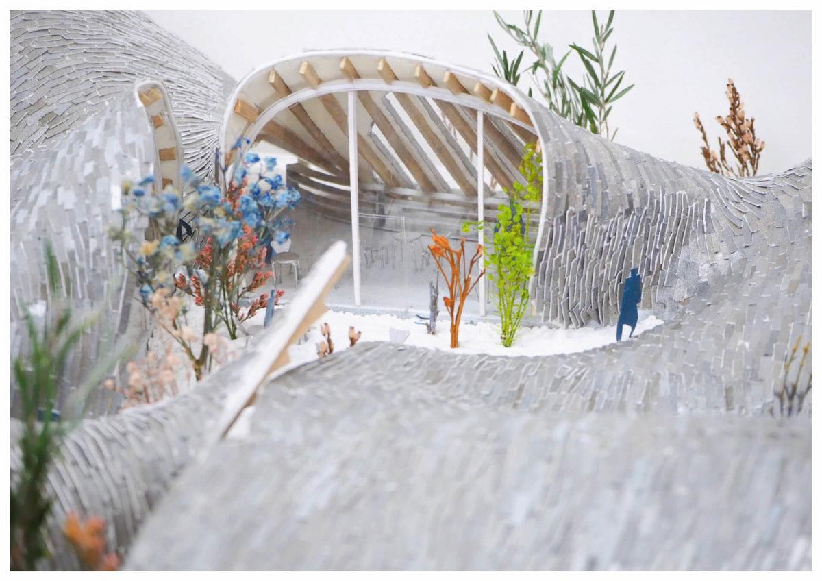 軌跡の洞窟 -ねじれた線織面による曲面建築の提案--14